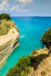 Gold rocks at Corfu, greek island