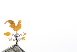 Gold rooster weather vane show the wind direction on white sky background