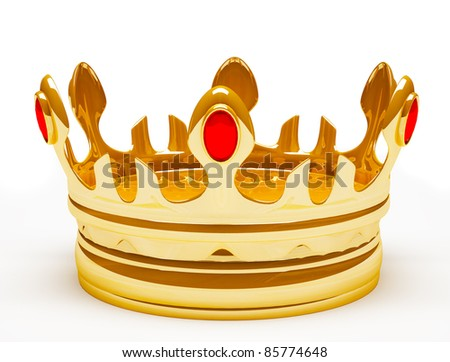 Gold royal crown. 3d illustration. Isolated on white