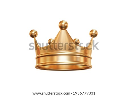 Gold royal king crown isolated on white background with emperor treasure. 3D rendering. Сток-фото ©