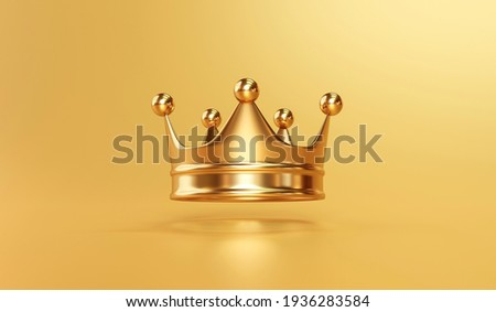 Gold royal king crown on golden background with emperor treasure. 3D rendering. Сток-фото ©