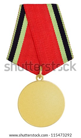 Gold russian medal isolated on white background