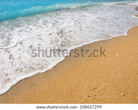 Gold sand and blue water