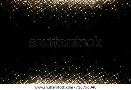 Gold sequins on black background. Gold glitter frame. Festive trend.