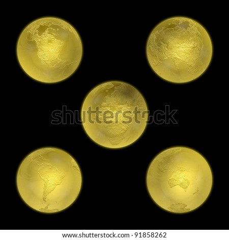 Gold set of earths. Concept of continents