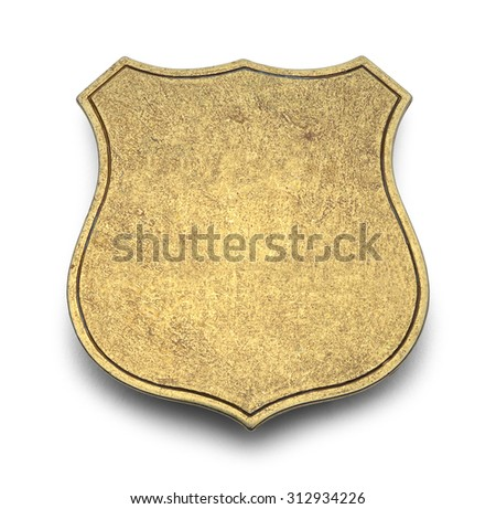 Gold Shield Badge with Copy Space Isolated on White Background. #312934226