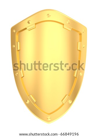 Gold shield isolated on a white background