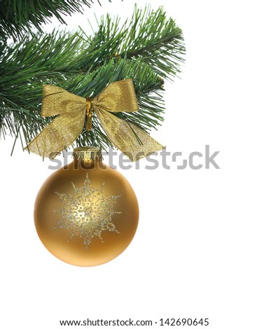 gold shinÃ?Â?? ball hanging on christmas tree, isolated on white