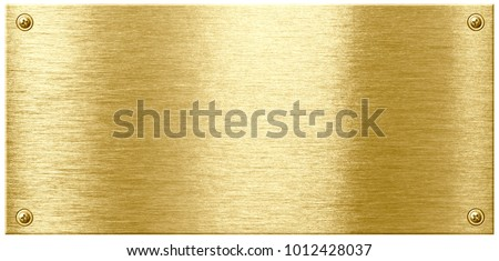 Gold shining metal plate with screw nail heads