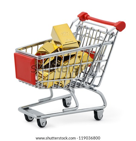 Gold shopping. Gold bar in shopping cart. Isolated on white with clipping path.