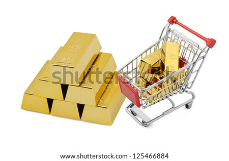 Gold shopping. Isolated on white.