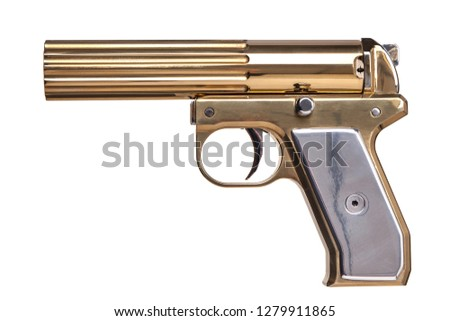 Gold signal flare gun isolated on white background #1279911865