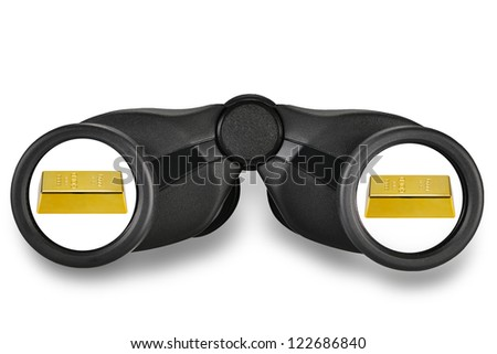 Gold signs in binoculars