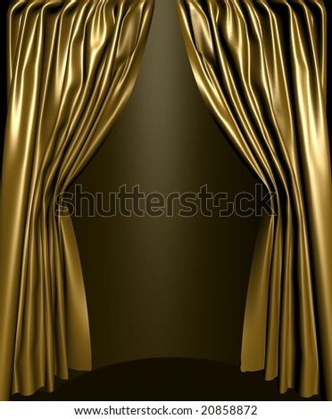 Gold silk stage curtain