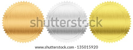 gold, silver and bronze foil seals or stamps isolated with clipping path included