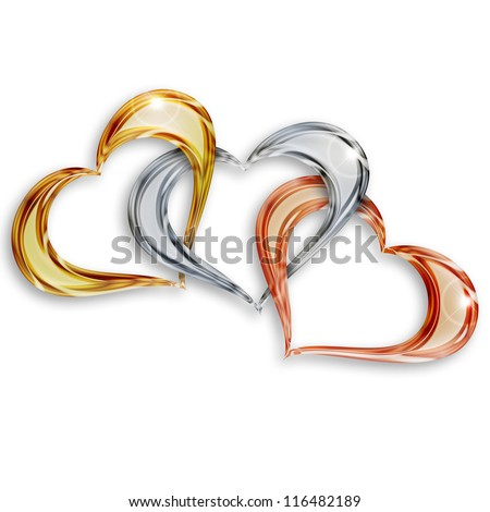 gold, silver and bronze hearts entwined on white background