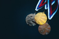 Gold, silver and Bronze medal, black background. Summer game, Tokyo 2020