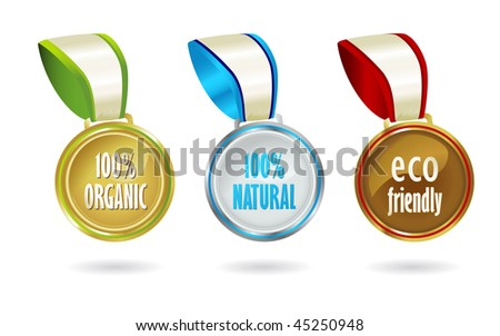 Gold, silver and bronze medals featuring organic, bio-friendly messages.