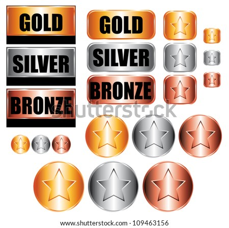 Gold, silver and bronze medals. Icons set. - stock photo