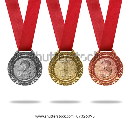 Gold, silver and bronze medals with ribbons(path in side)