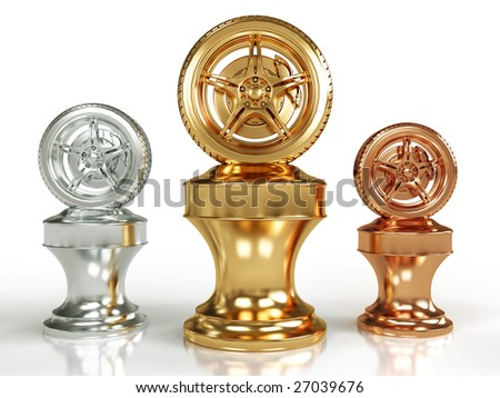 Gold, silver and bronze wheel awards isolated on white background