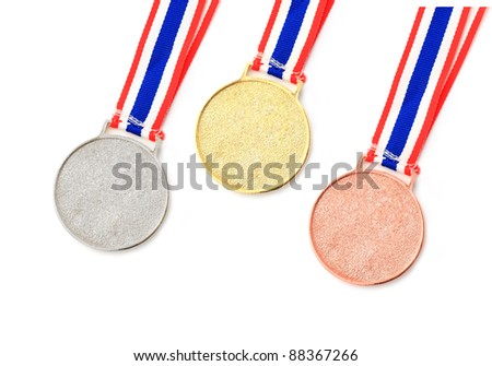 gold, silver, bronze Medal & Ribbon for 1-2-3 place isolated