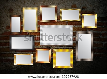 gold silver frame on the Old grunge brick wall. text box. art
