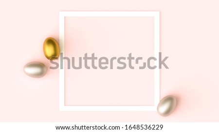 Gold, silver shiny Easter eggs on pink pastel background, white frame with space for text, flat lay image composition, top view. Easter decoration, foil minimalist egg design, modern design template.