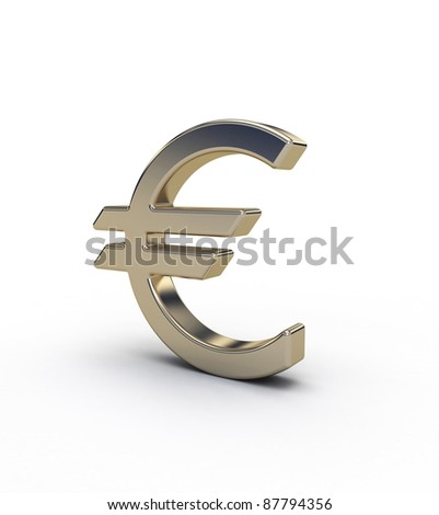 gold simbol euro on white background