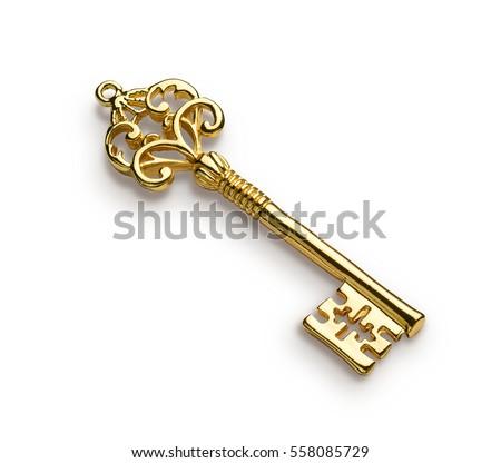 Gold skeleton key isolated on white background #558085729