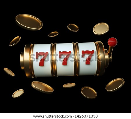 Gold Slot Machine With Red Details And Golden Coins Isolated On The Black Background - 3D Illustration