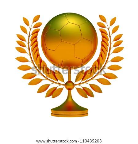 Gold soccer ball, bronze prize, 3d object illustration