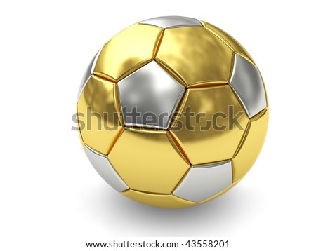Gold soccer ball on white background rendered with soft shadows. High resolution 3D image