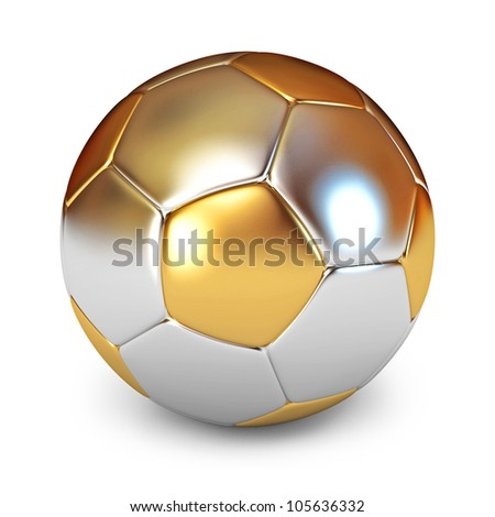Gold Soccer Ball. White background. 3d render