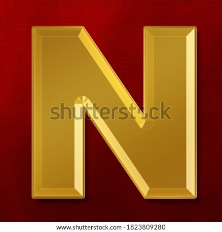 Gold solid alphabet Letter N Collection. 3D rendering Foto stock ©