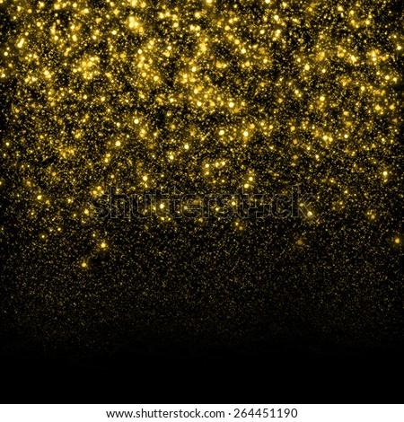 Gold sparkle glitter background. Glitter stars background. Sparkling flow background