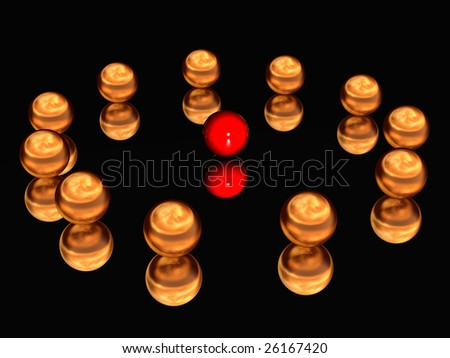 Gold spheres laid out on a circle on the glass.