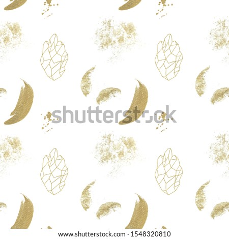 Gold splotches and crystals seamless pattern on white background, golden texture