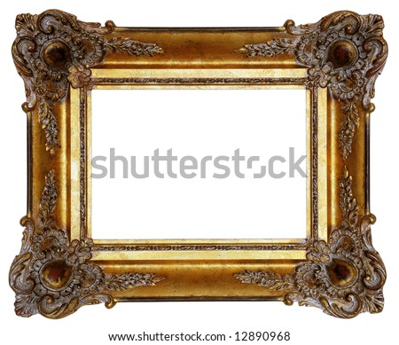 Gold square antique picture frame cutout art craft stock photo