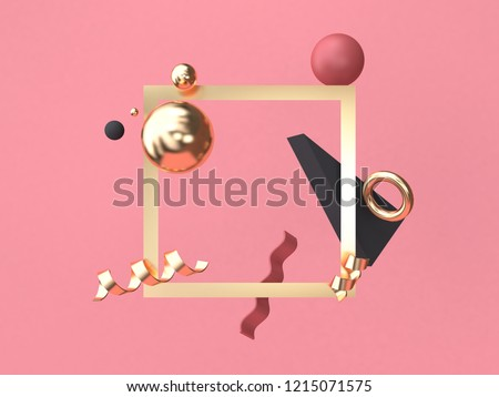 gold square frame red-pink background minimal abstract geometric shape floating 3d rendering