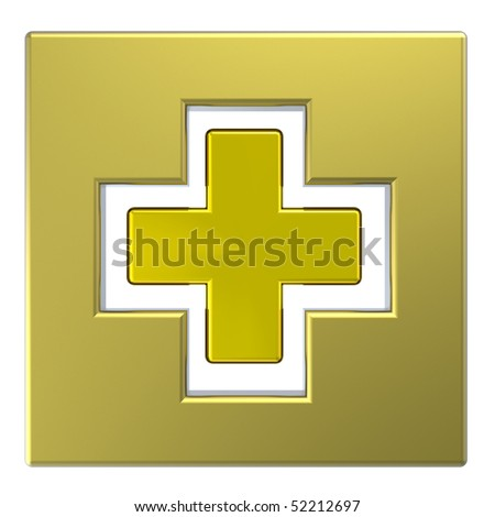 Gold square with cross isolated on white. Computer generated 3D photo rendering.