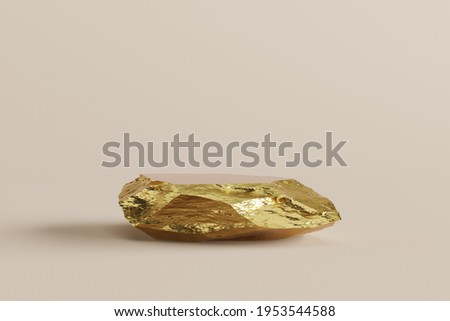 gold stand raw display product luxury strong deluxe hi-end brand nature material commercial advertisement minimal style. space placing products fashion cosmetics skincare and jewel. 3D illustration.