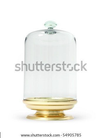 Gold stand with glass bell 3d model