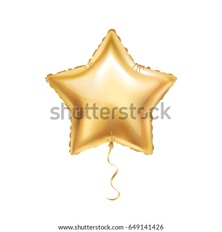 Gold star balloon on background. Party balloons event design decoration. Balloons isolated in the air. Party decorations wedding, birthday, celebration, anniversary, award. 23 february, Golden balloon