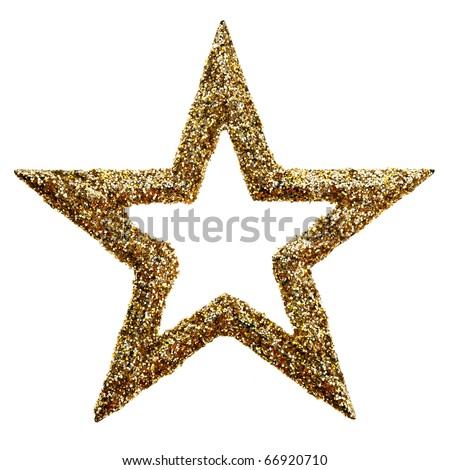 Gold star for Christmas. isolated on white