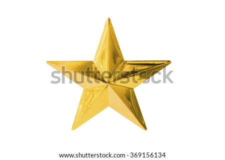 Gold star isolated on white #369156134