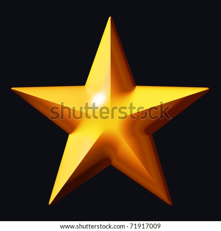 Gold star on a black background