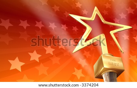 Gold star on red-stars background - stock photo
