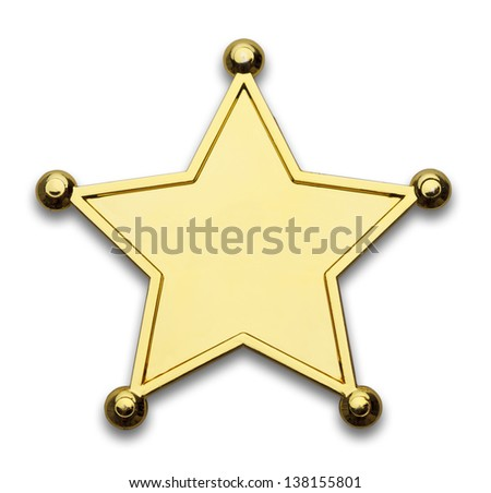 Gold Star Police Badge Isolated on White Background.