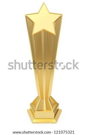 Gold star prize on pedestal with blank plate isolated on white. High resolution 3D image - stock photo